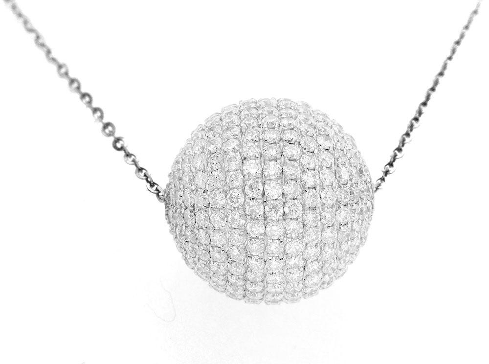 14K White Gold Diamond Ball Necklace With Round Cut Diamonds 6.00CT