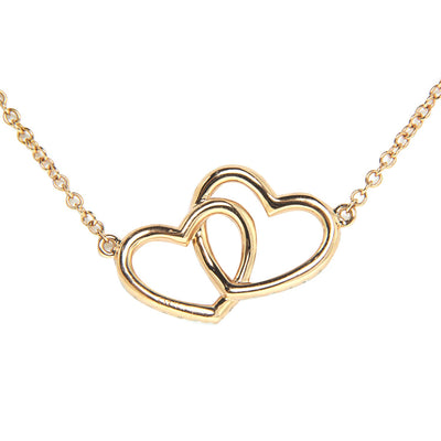 18K Rose Gold Double Heart Diamond Pendant with Chain 0.65CT