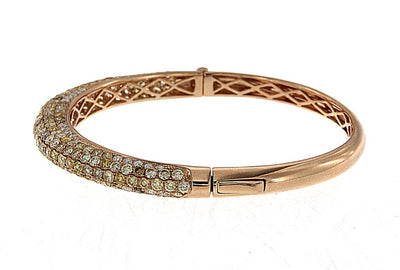 18K Rose Gold Bracelet with White and Yellow Round Diamonds 7.00CT