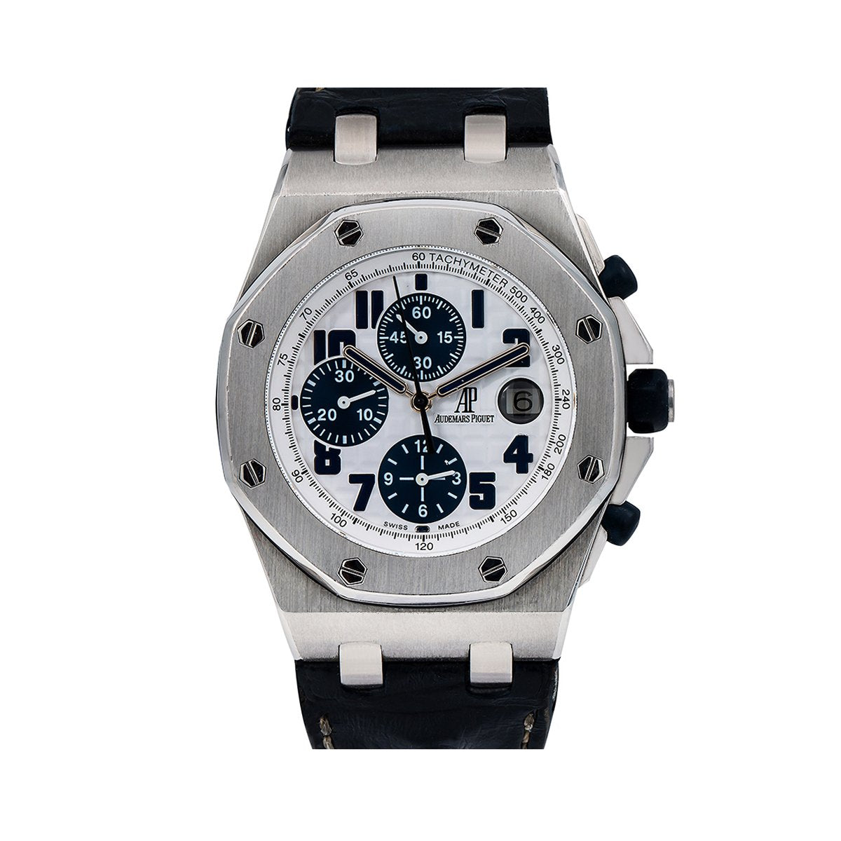 "Audemars Piguet Royal Oak Offshore ""Panda"" 26170ST 42MM White Dial With Black Leather Bracelet"