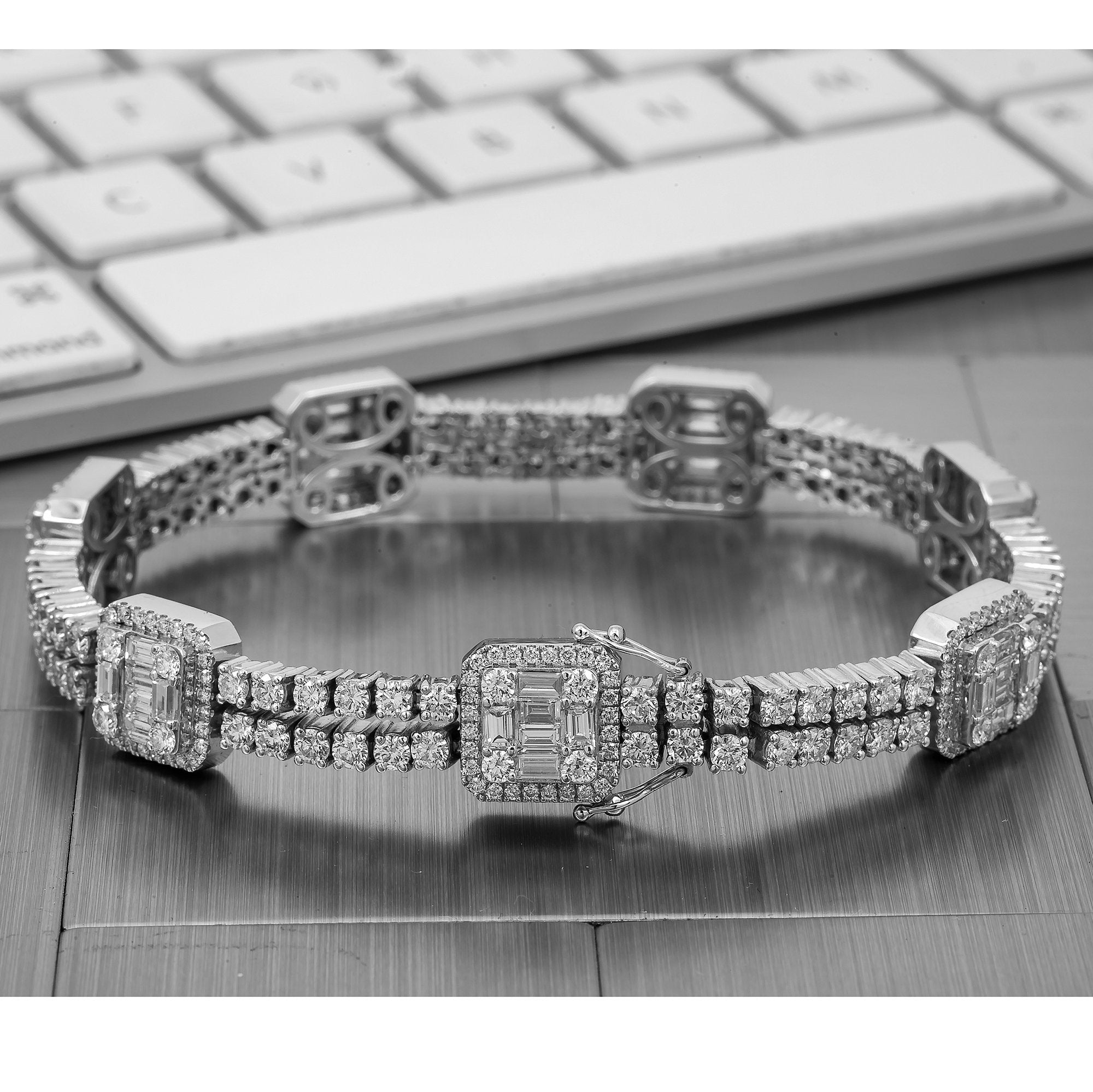 Fancy 14K White Gold Men's Bracelet With 10.50 CT Round and Baguette Diamonds