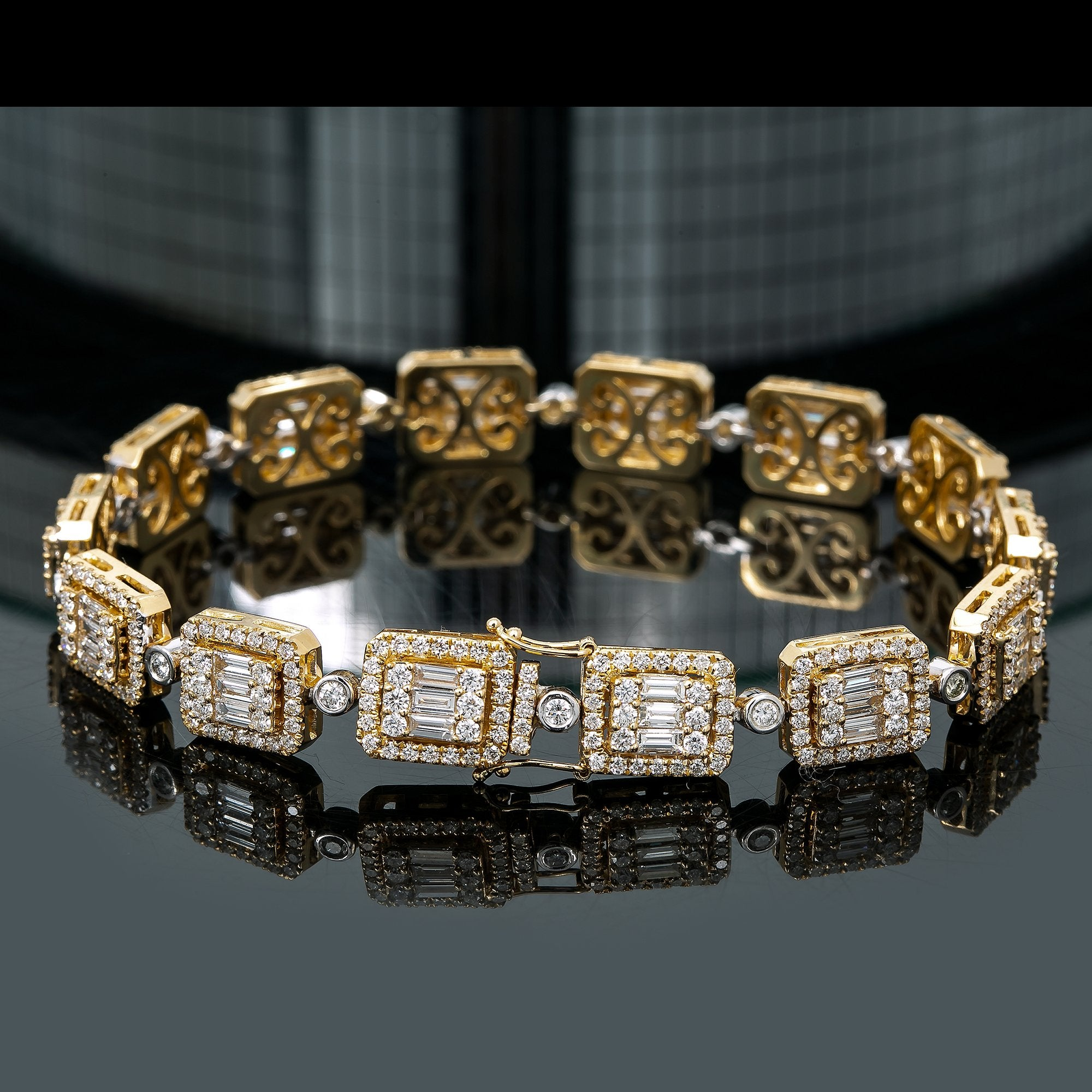 14K Yellow and White Gold Men's Bracelet With Total of 10.06 CT Diamonds