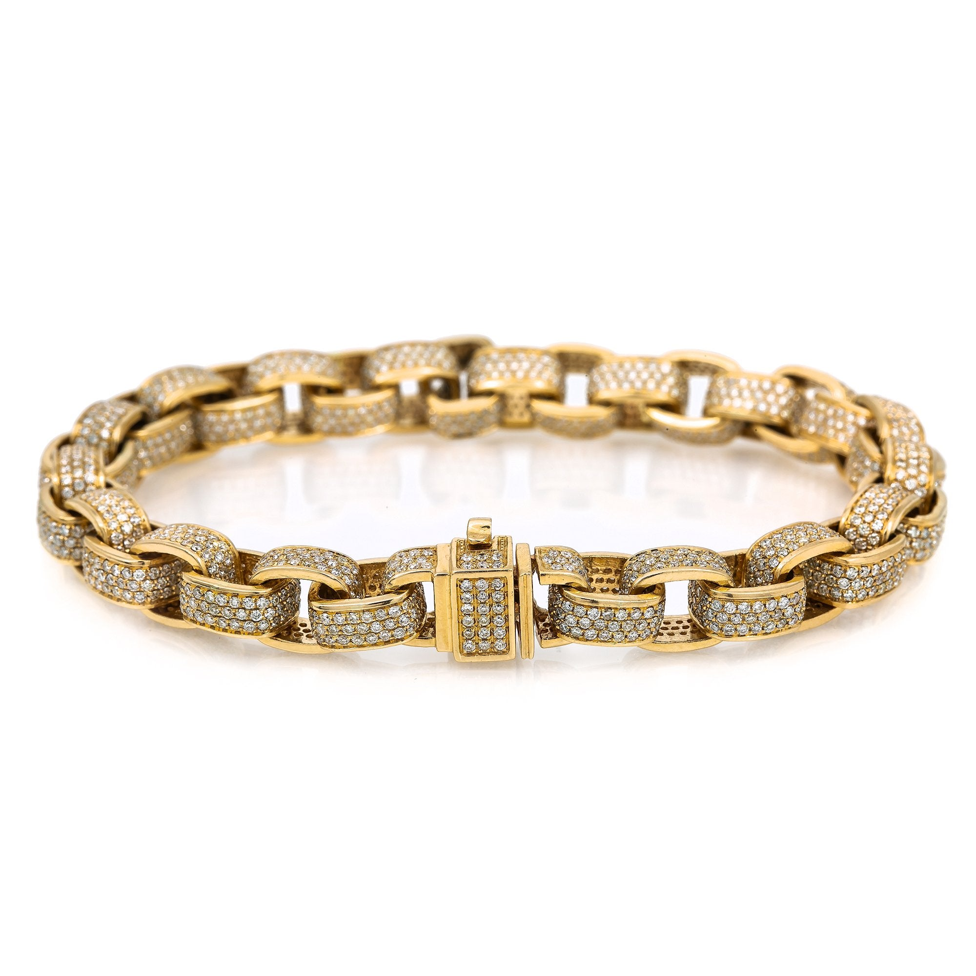 14K Yellow Gold Men's Custom Diamond Bracelet With 13.06 CT Diamonds