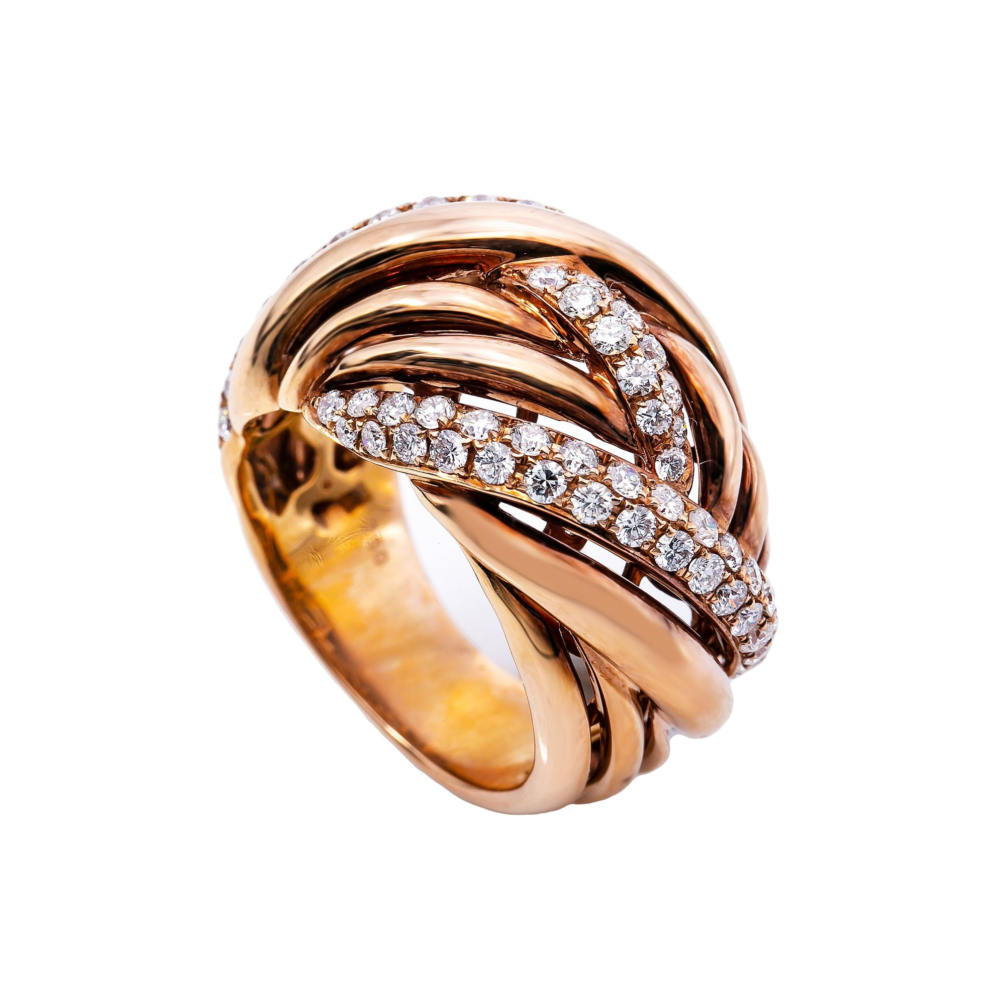 18K Rose Gold  Round Shaped Diamond Ring
