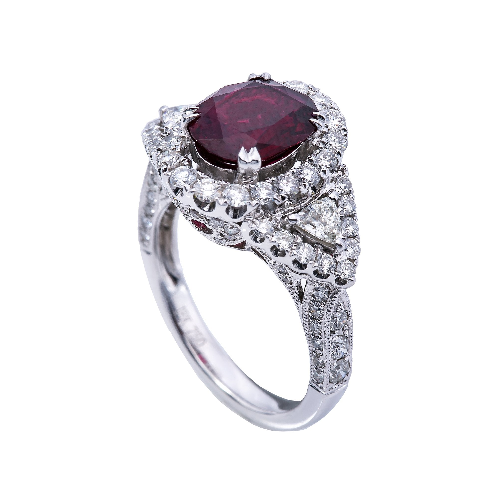 18K White Gold  Round Shaped Diamond Ring With Ruby