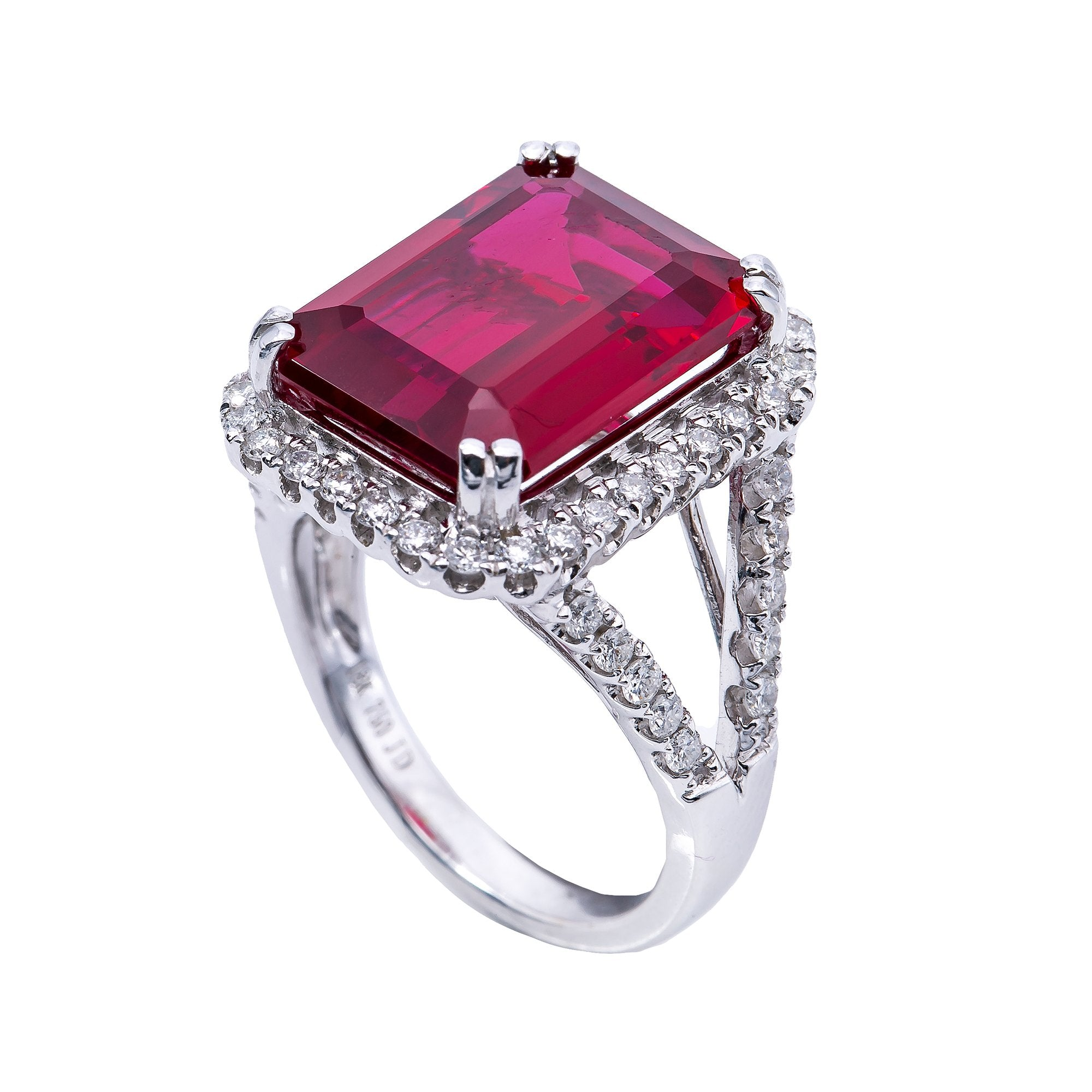 18K White Gold  Square Shaped Diamond Ring with Ruby