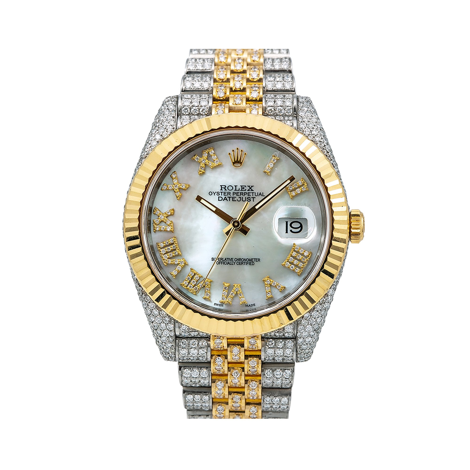 Rolex Datejust Diamond Watch, 126333 41mm, Silver Diamond Dial With Two Tone Bracelet