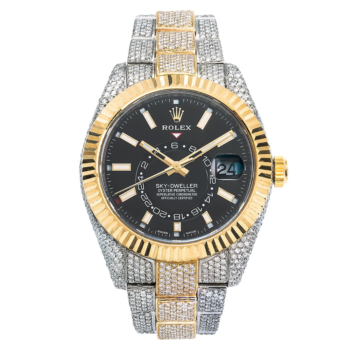 Rolex Sky-Dweller Diamond Watch, 326933 42mm, Black Dial with 21.5CT Diamonds