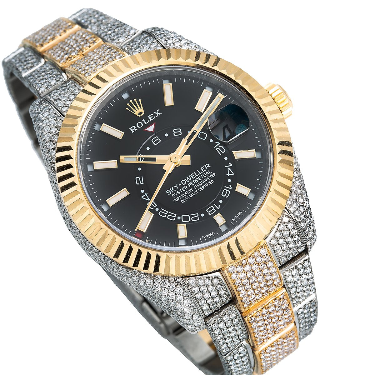 Two Tone Rolex Sky,Dweller 326933 42mm Black Dial with 21.5CT Diamonds
