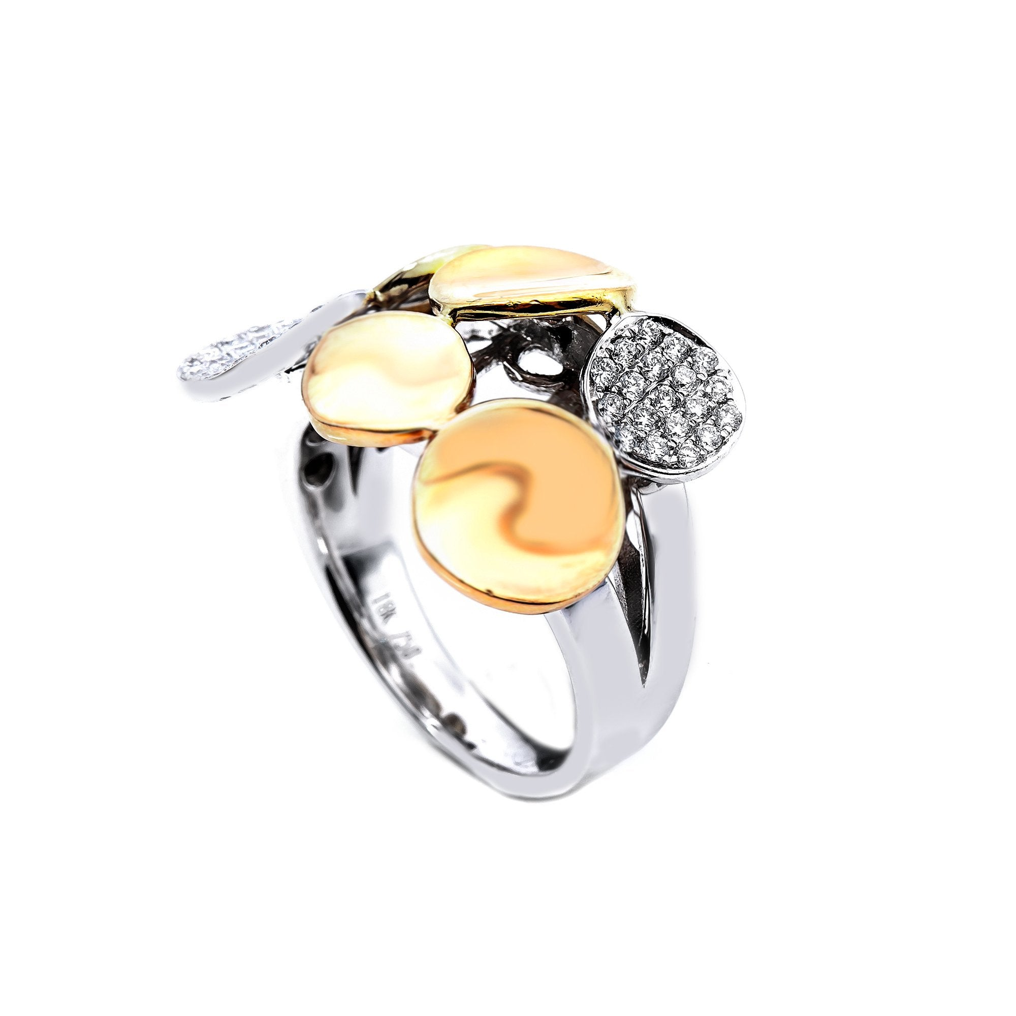 18K White and Rose  Gold Oval Shaped Ring