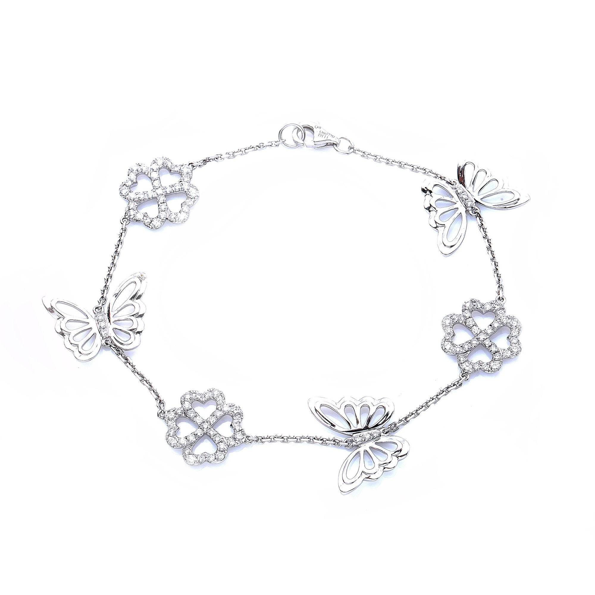 18K White Gold  Women Butterfly and Flower Shaped  Bracelet