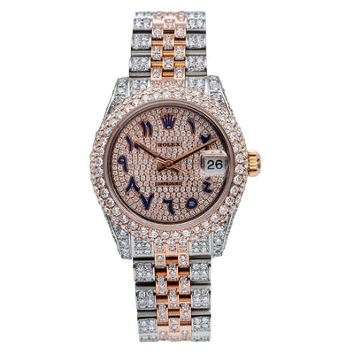 Rolex Datejust Diamond Watch, 178240 31mm, Pink Champagne Dial with 8.75CT Diamonds