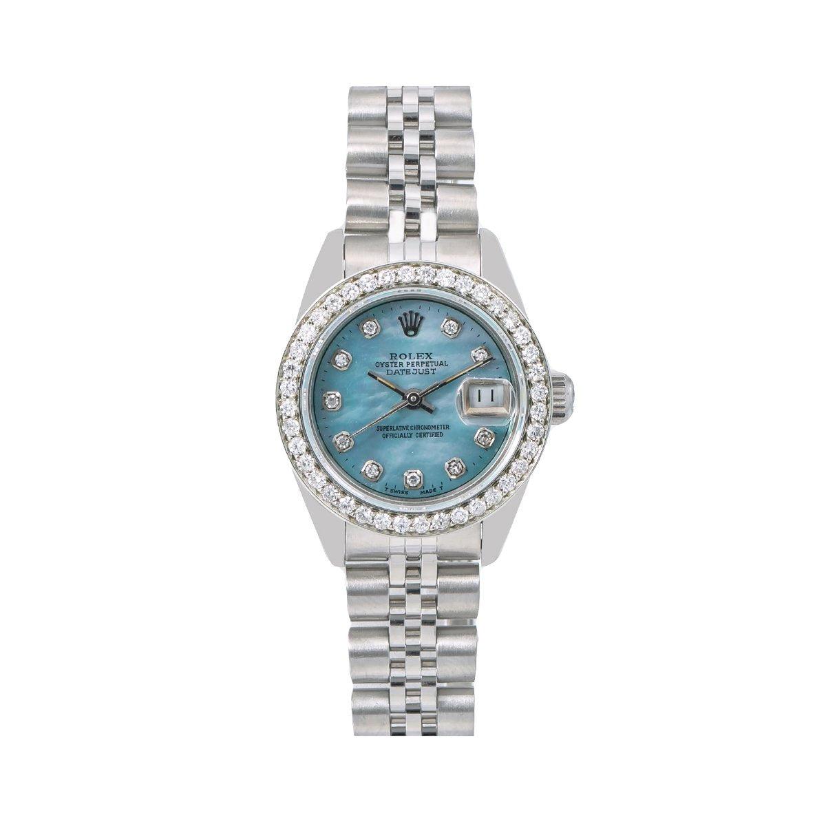 863848e48e6 Rolex Oyster Perpetual Lady DateJust 69240 26MM Blue Diamond Dial With -  majorleaguejewelers