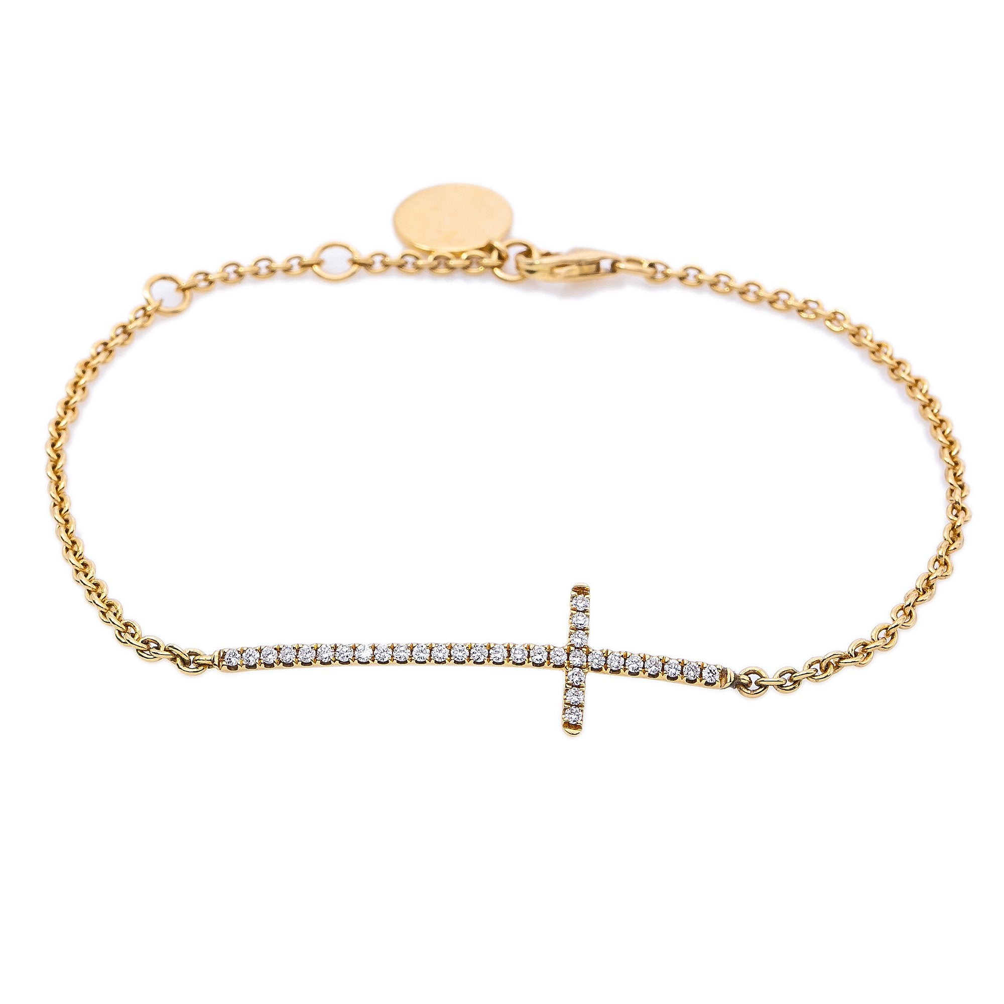 18K Yellow Gold Women Bracelet With Small Cross