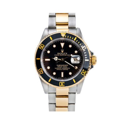 Rolex Submariner Date 16803 40MM Black Dial With Two Tone Bracelet