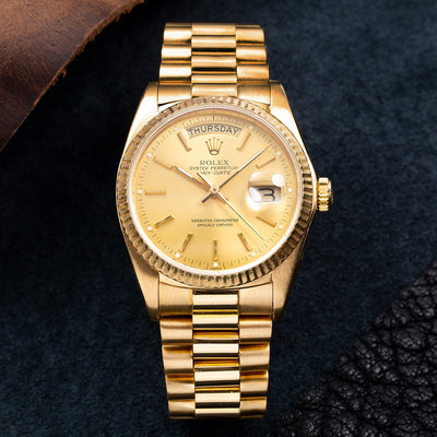 18K Yellow Gold Rolex Day-Date 18038 36mm Champagne Dial