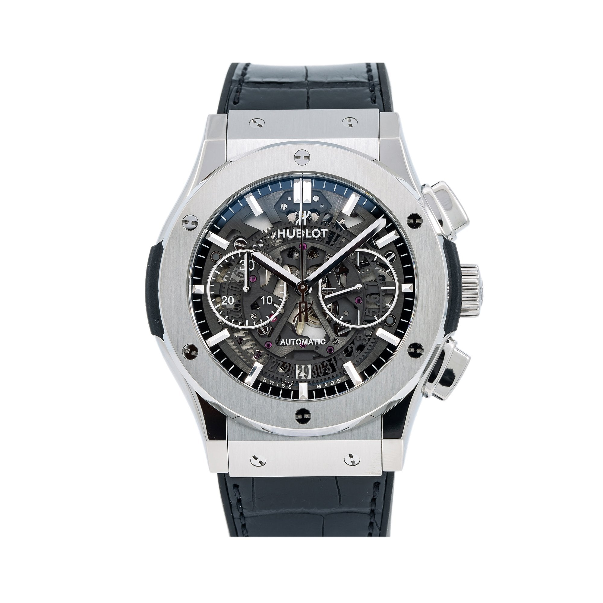 Hublot Classic Fusion Aerofusion 525.NX.0170.LR.12 45MM Black Dial With Leather Bracelet