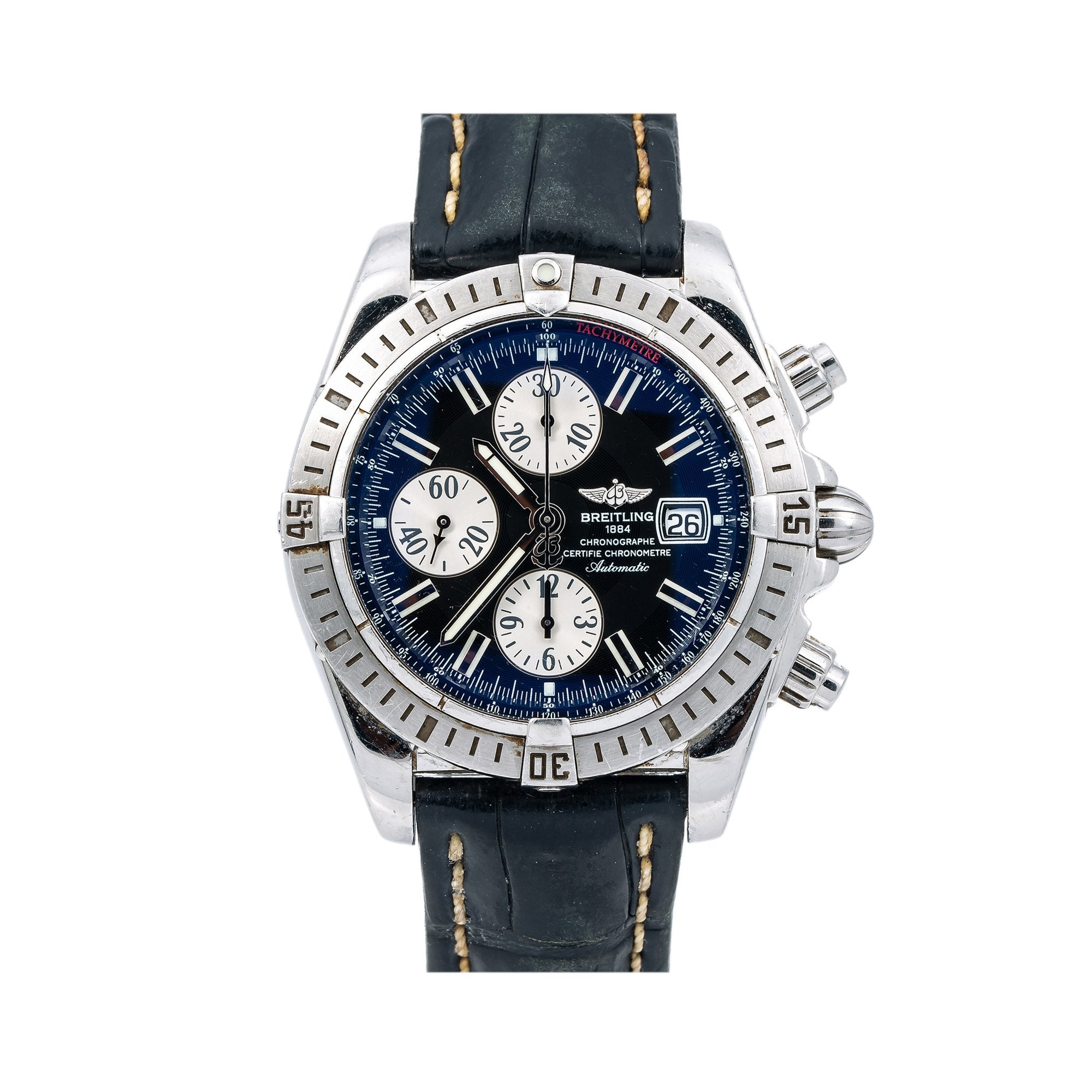 Breitling Chronomat Evolution A13356 44MM Black Dial With Stainless Steel Bracelet