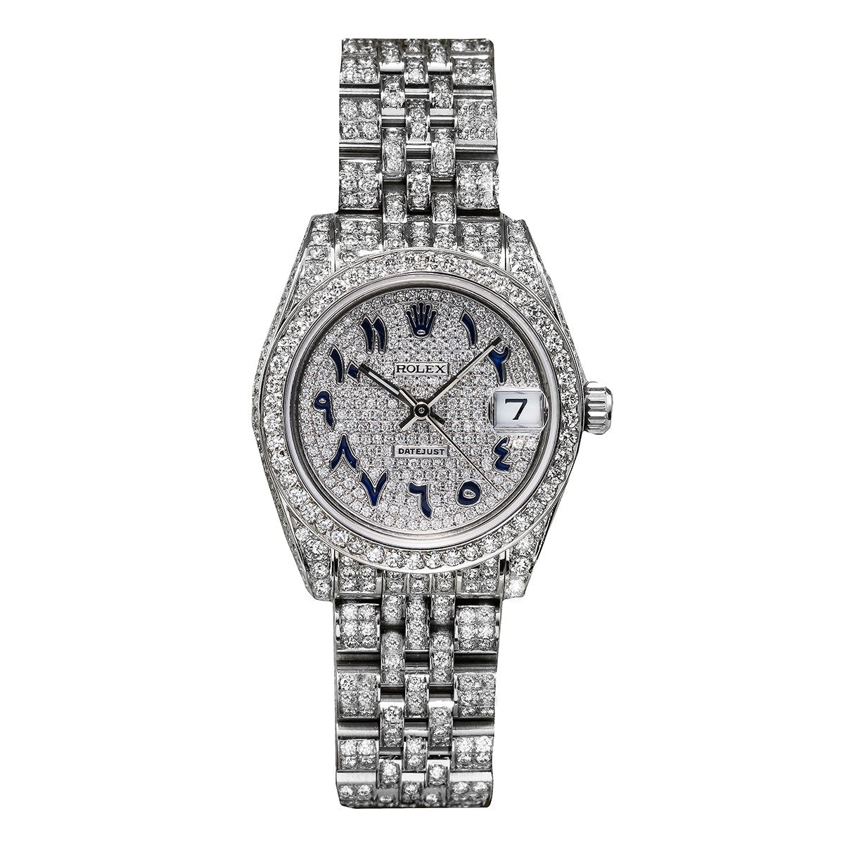 Rolex DateJust Diamond Watch, 179174 26mm, White Diamond Dial Blue Arabic Numerals with CT