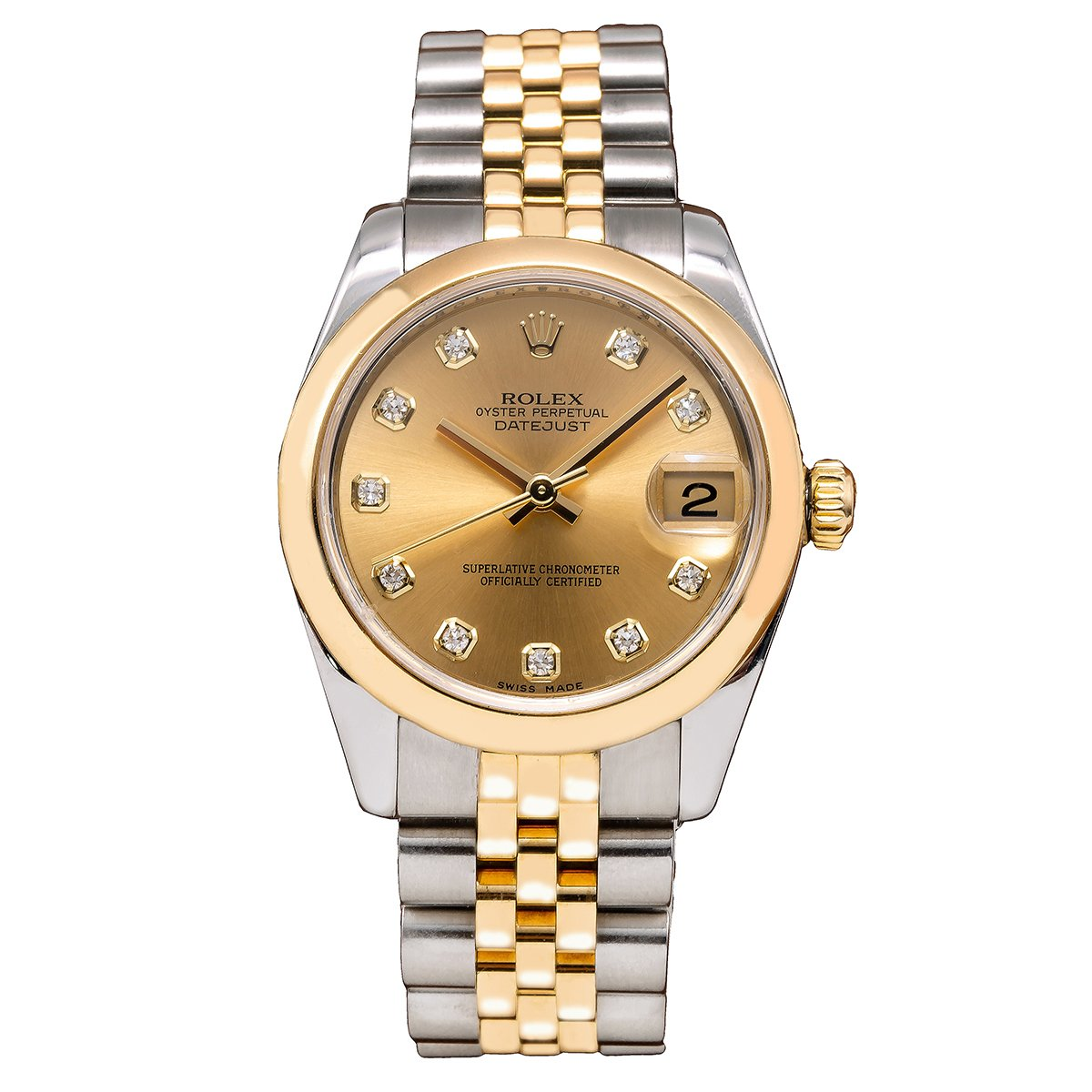 Rolex DateJust Two Tone Diamond Watch, 178243 31mm, Champagne Dial with Diamond Hour Markers