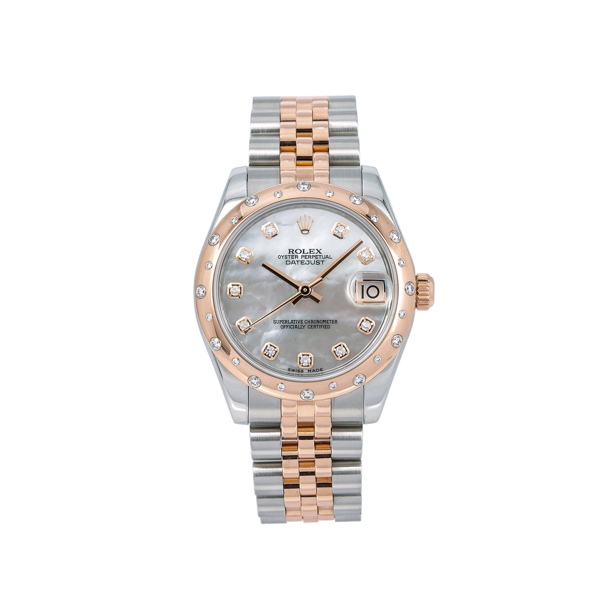 Rolex Lady-Datejust Diamond Watch, 178341 31mm, Silver Diamond Dial With Two Tone Jubilee Bracelet