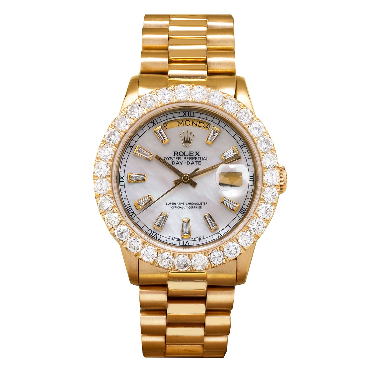 18K Yellow Gold Rolex Diamond Watch, Day-Date 8038 36mm, White Mother Of Pearl Dial With 4.75CT Diamond Bezel
