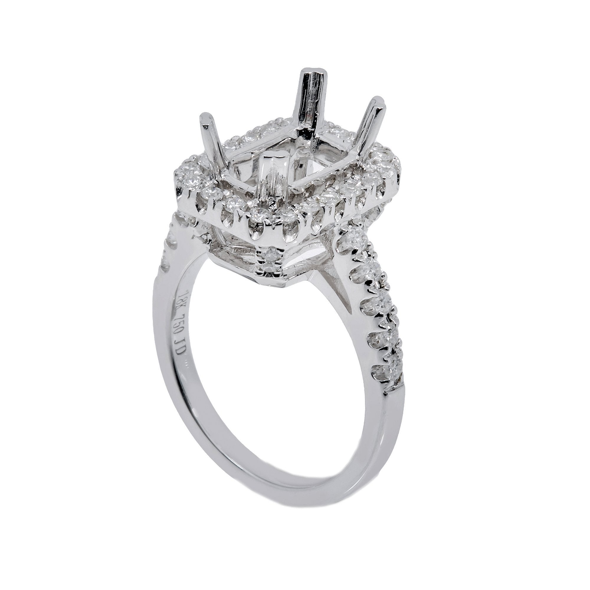 18K White Gold Rectangular  Shape Ring