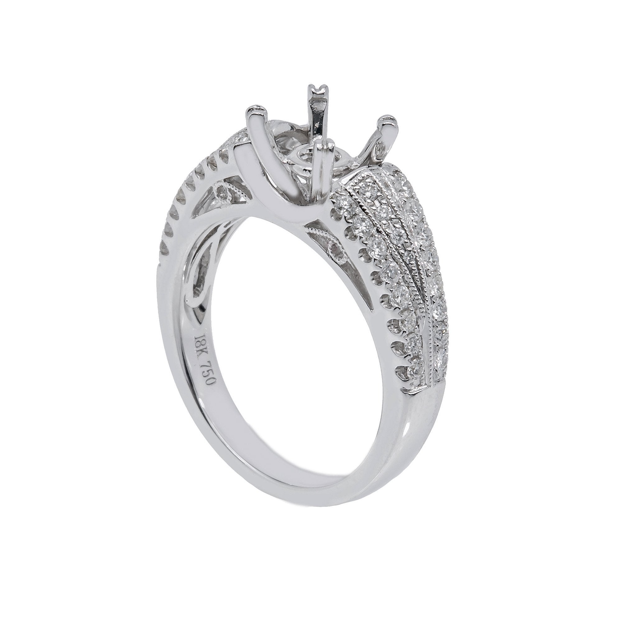 18K White Gold Round Shape Ring