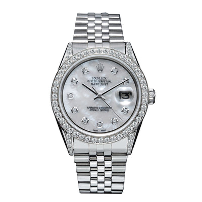 Rolex DateJust Diamond Watch, 179174 36mm, Silver Mother of Pearl with 2.5CT Diamond Bezel