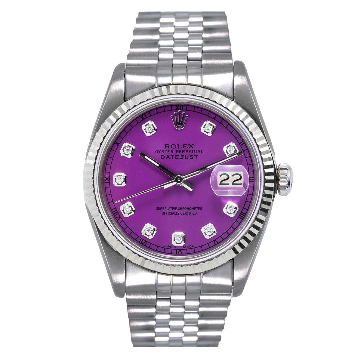 Rolex Datejust Diamond Watch, 116200 36mm, Purple Dial with Diamond Hour Markers