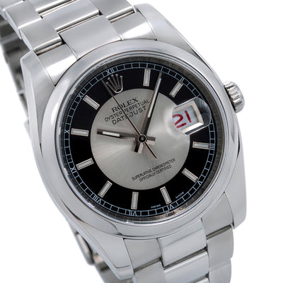 Rolex Datejust 116200 36mm Silver and Black Dial