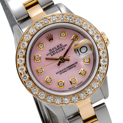 Rolex DateJust Two Tone Diamond Watch, 6917 26mm, Pink Dial with 0.90CT Diamond Bezel