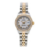 Two Tone Rolex Datejust 69173 26mm White with Roman Numerals Dial with 0.80CT Diamond Bezel
