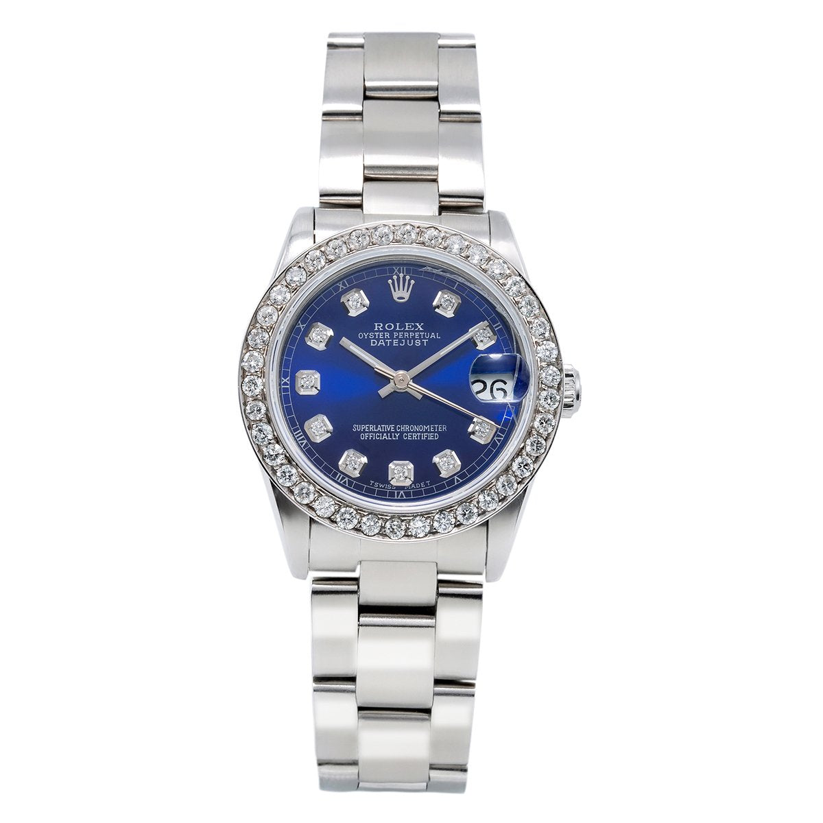 Rolex DateJust Diamond Watch, 68240 31mm, Blue Dial With 1.05CT Diamond Bezel