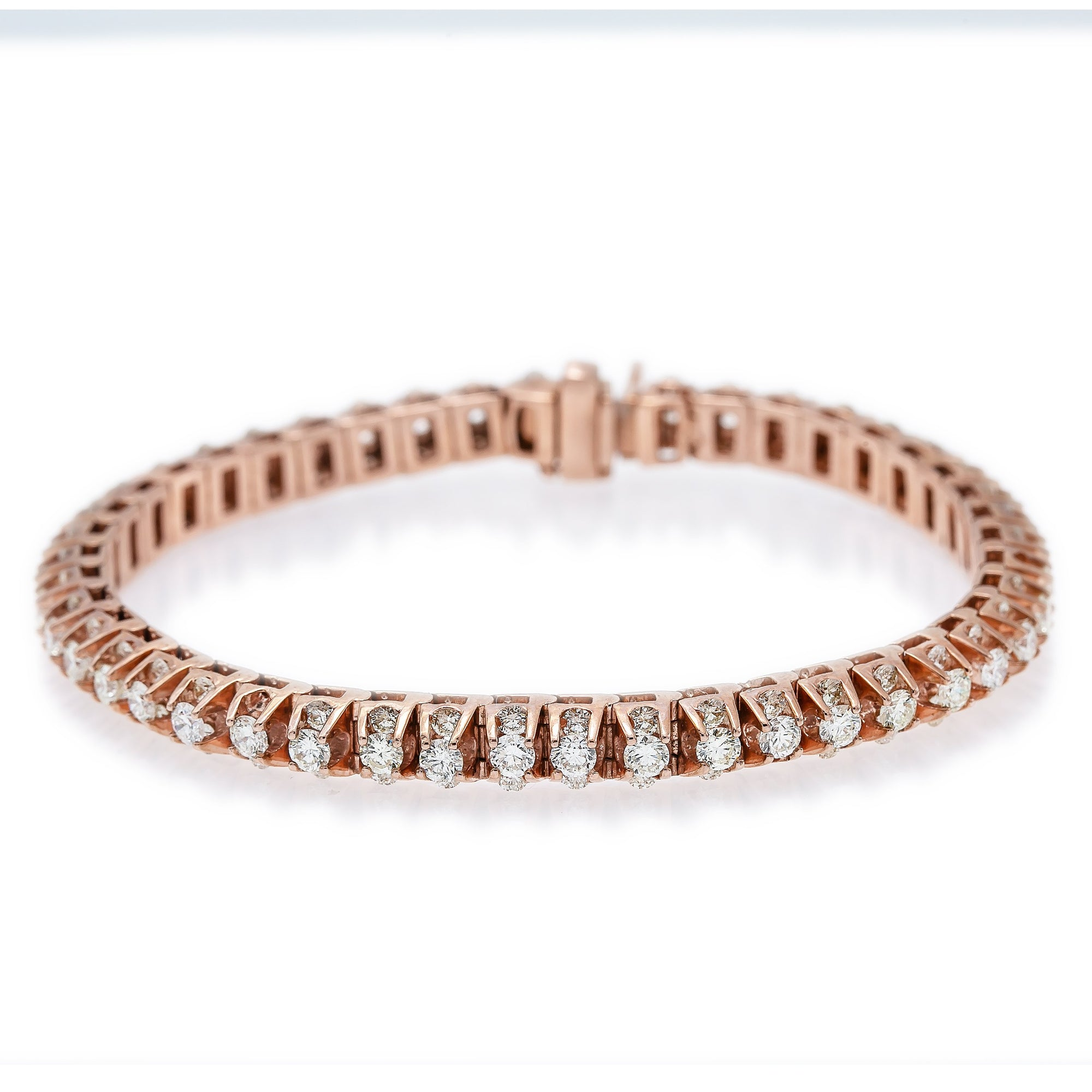 14K Rose Gold Ladies Tennis Bracelet Prong Set With 6.20 CT