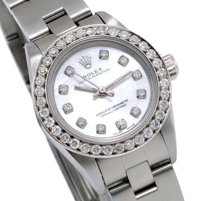 Rolex Oyster Perpetual Diamond Watch, 67193 26mm, White Mother of Pearl Dial with 0.90Ct Diamond Bezel