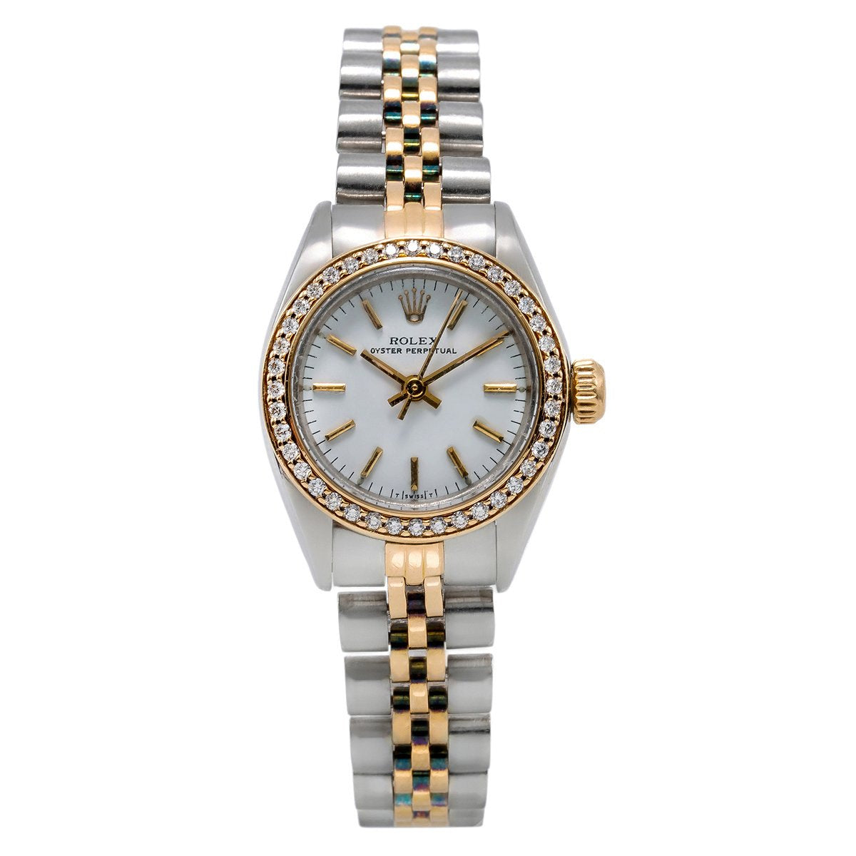 Rolex Oyster Perpetual Diamond Watch, 26mm, White Dial with 0.80CT Diamond Bezel