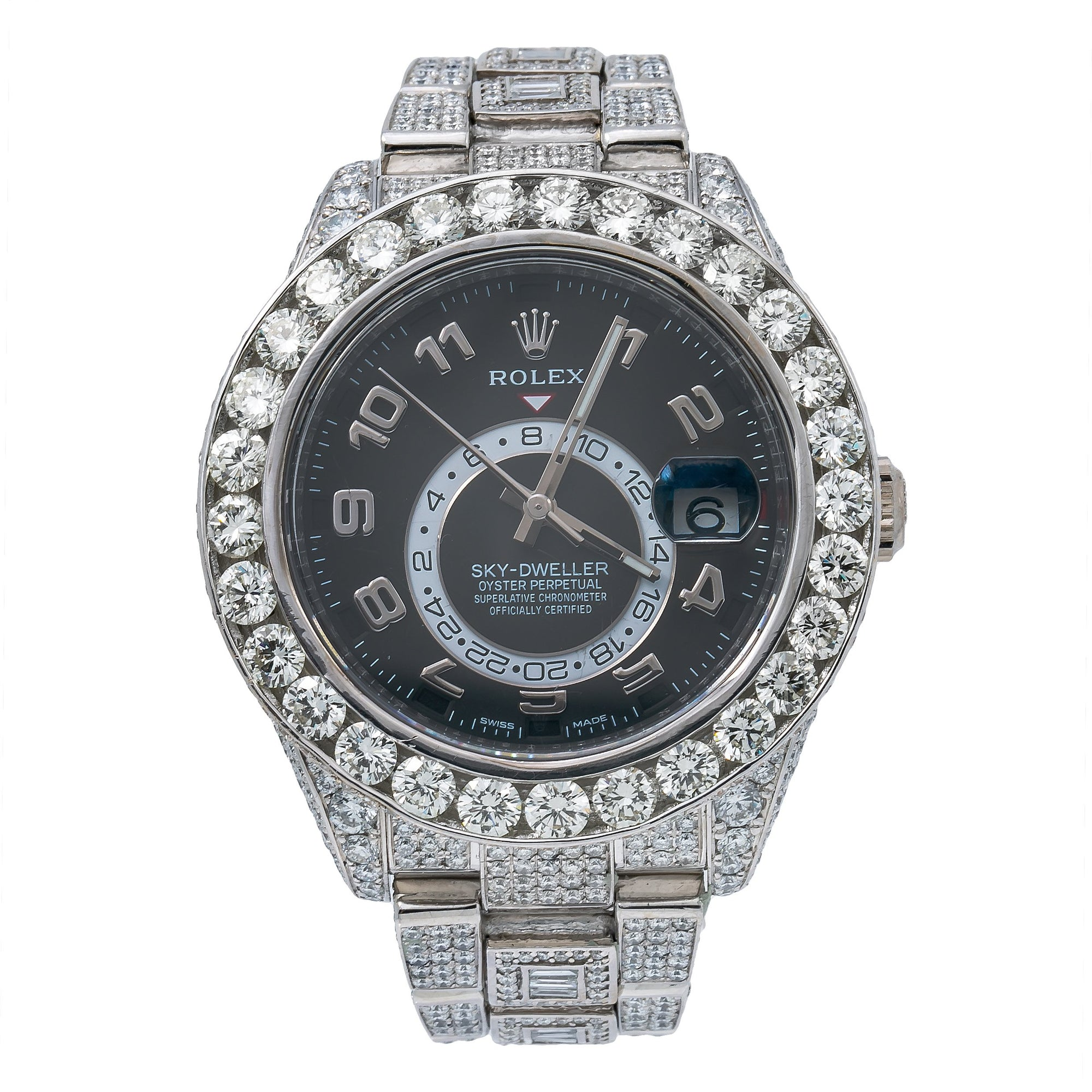 Rolex Sky-Dweller 326939 42MM Black Dial With 26.22 CT Diamonds