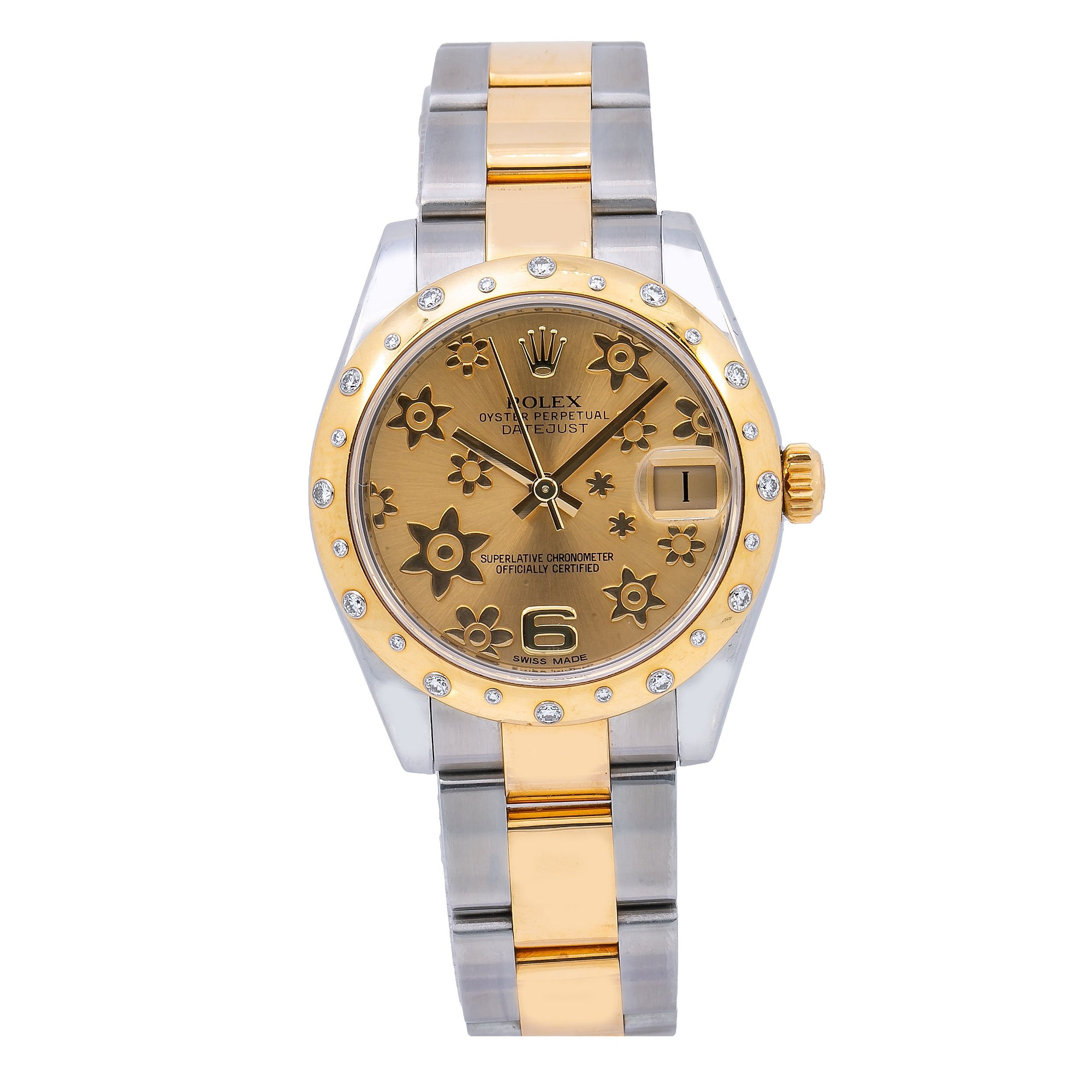 Rolex Datejust 178343 Champagne Flower Dial With Two Tone Oyster Bracelet