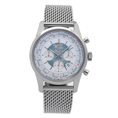 Breitling Transocean Chronograph Unitime AB0510 46mm White Dial