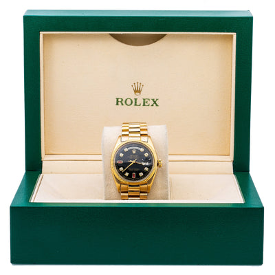 Rolex Datejust 1803 36MM Black Diamond Dial With Yellow Gold President Bracelet