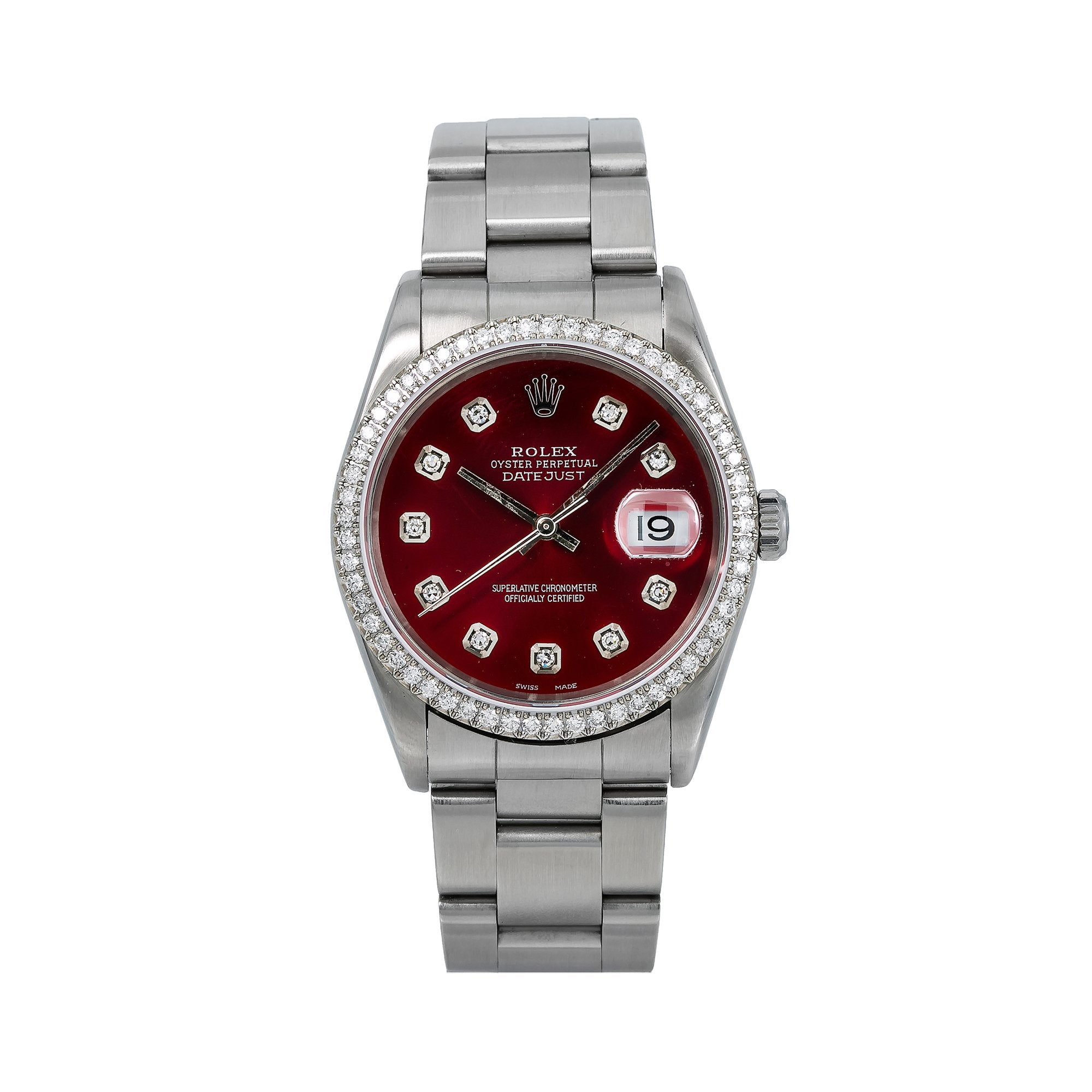 Rolex Datejust Diamond Watch, 16200 36mm, Red Diamond Dial With Stainless Steel Oyster Bra