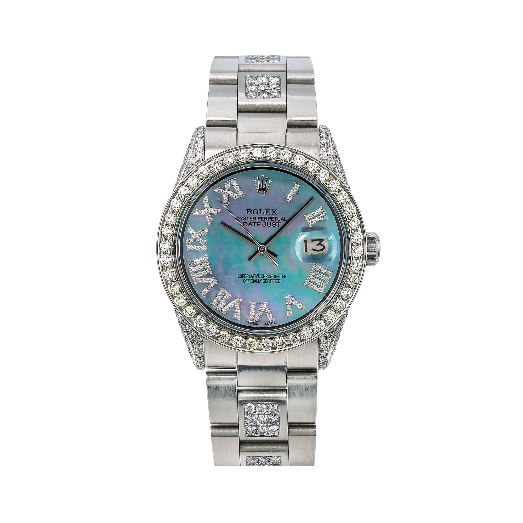 Rolex Datejust Diamond Watch, 1601 36mm, Light Blue Mother of Pearl Diamond Dial With 6.75
