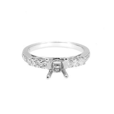 18K White Semi Mount  Gold Round Shaped Ring