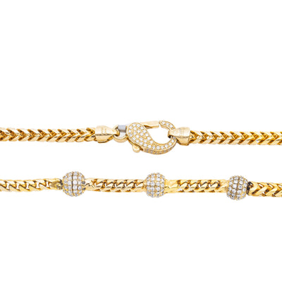 14K Yellow Gold  Chain with Round Shaped Balls