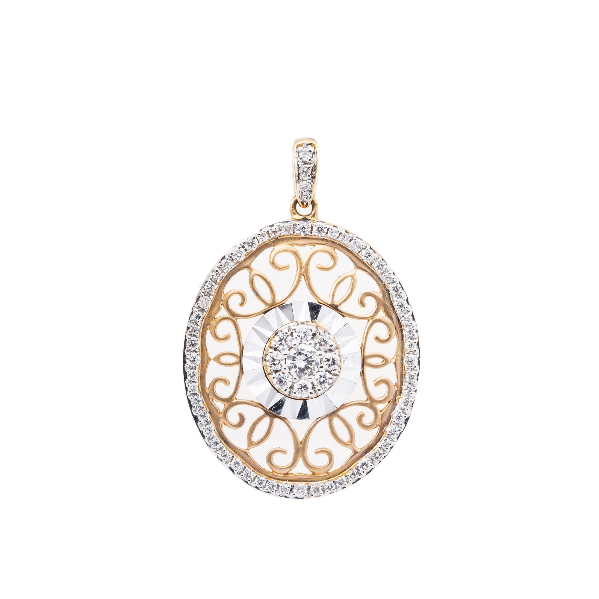 18K White And Rose Gold Pendant with Diamond