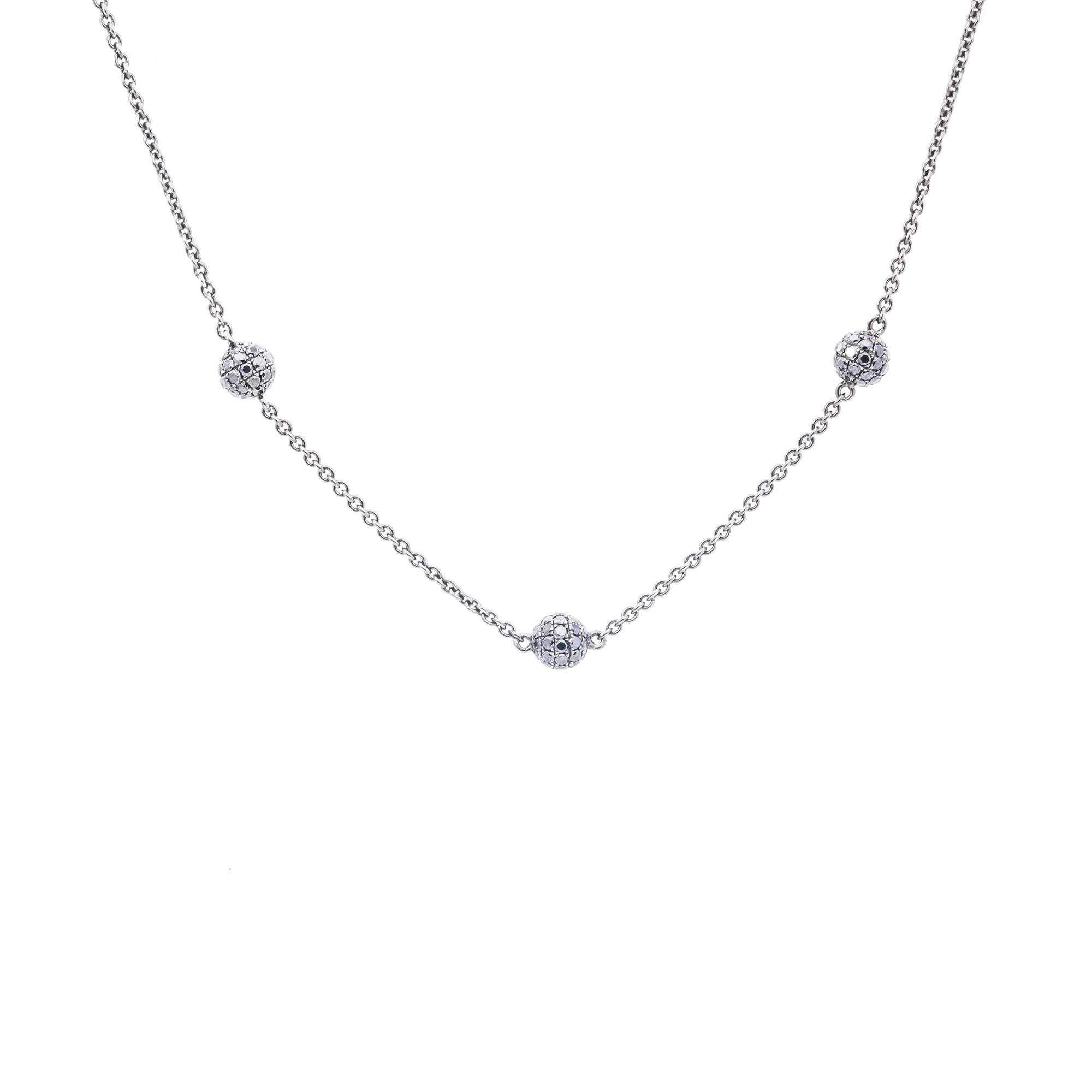 18K White Gold Diamond Necklace With Small Balls