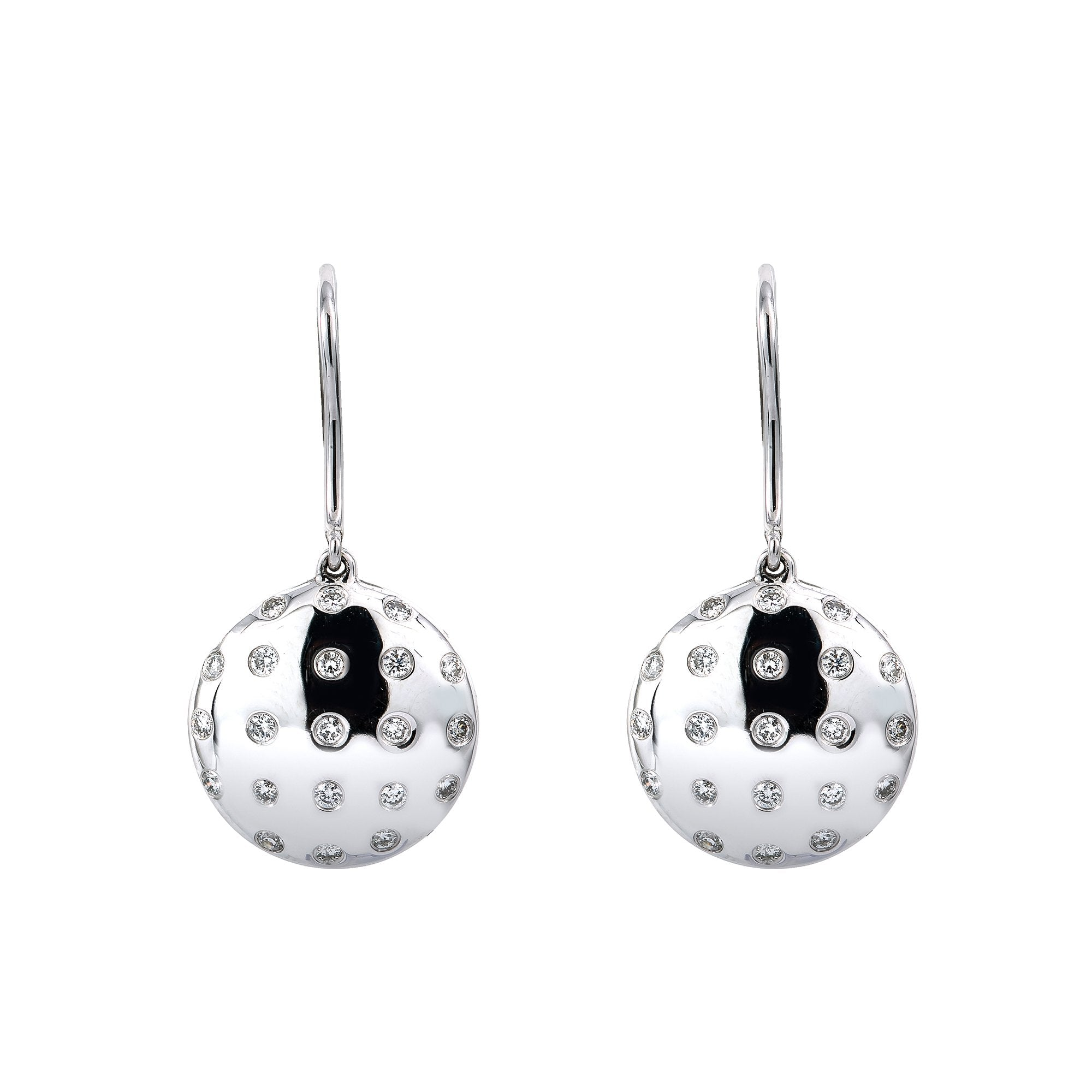 18K White Gold Ladies Drop Sphere Shaped  Earrings With 0.50 CT Diamonds