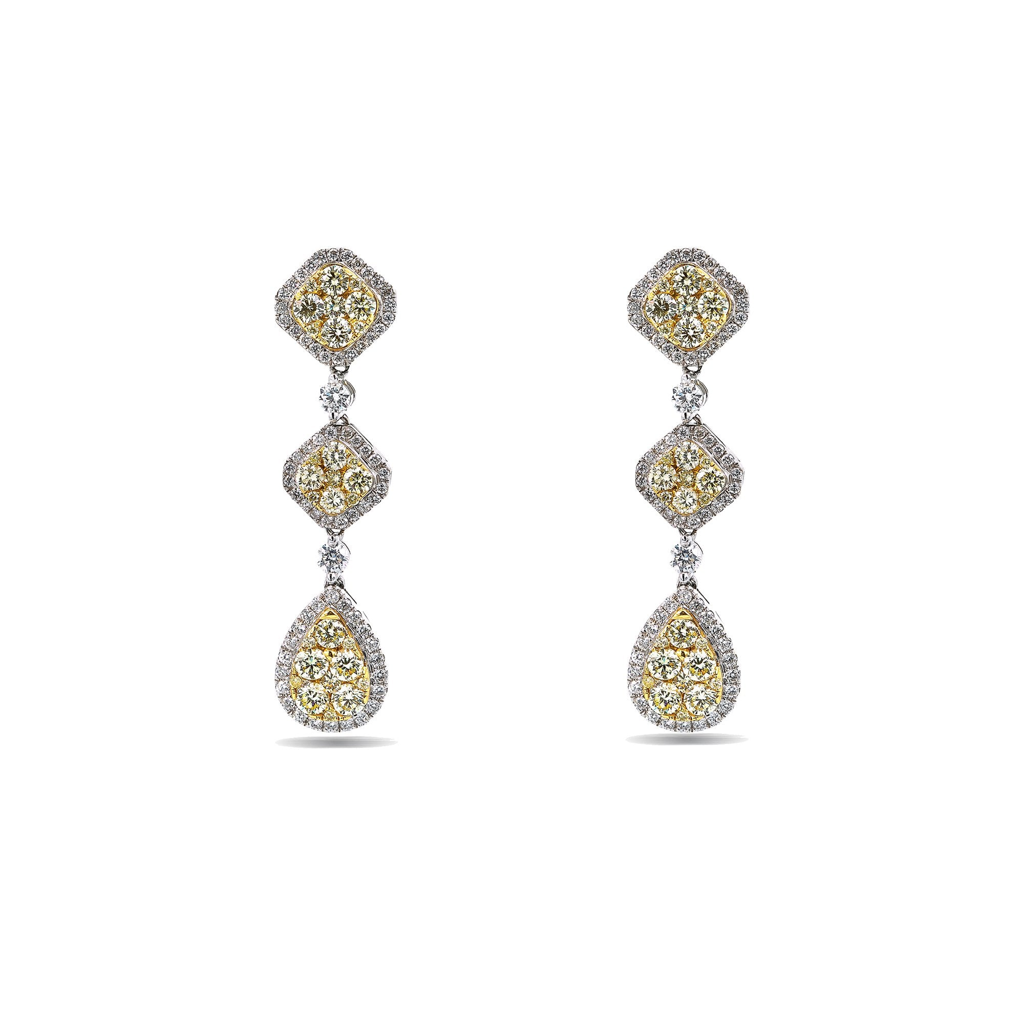 18K White Gold Ladies Drop Earrings With Total 3.07 CT Of Colored Diamonds