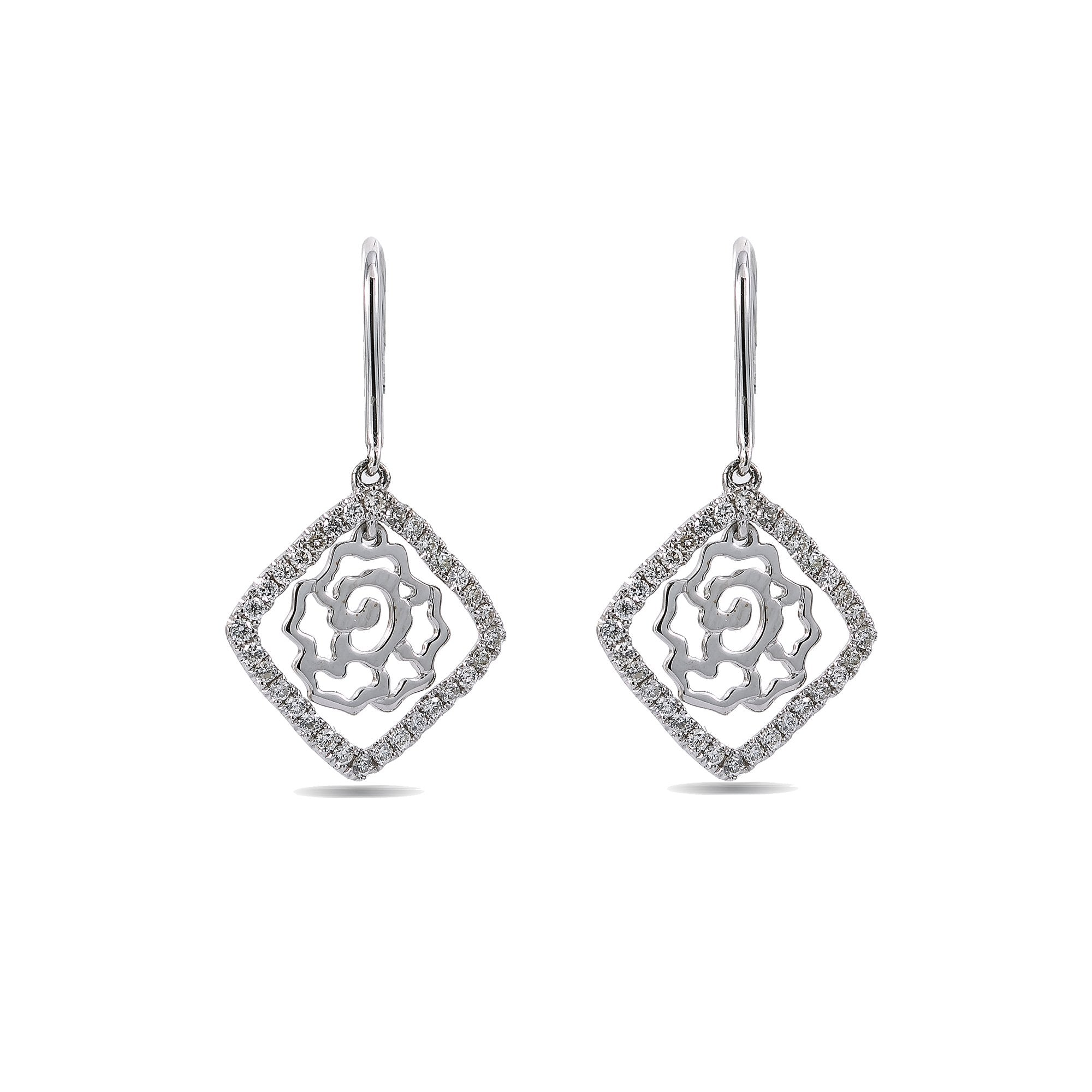 18K White Gold Ladies Drop Earrings With 0.5 CT Diamonds